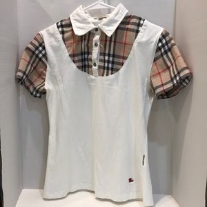 Burberry London Collared Shirt Nova Check / White